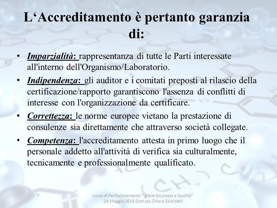 LAccreditamento è pertanto garanzia di: Imparzialità: rappresentanza di tutte le Parti interessate all'interno dell'Organismo/Laboratorio. Indipendenz
