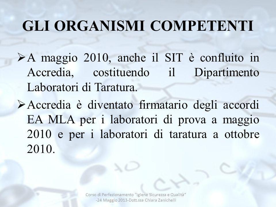 GLI ORGANISMI COMPETENTI A maggio 2010, anche il SIT è confluito in Accredia, costituendo il Dipartimento Laboratori di Taratura. Accredia è diventato