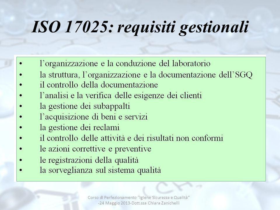 ISO 17025: requisiti gestionali Corso di Perfezionamento