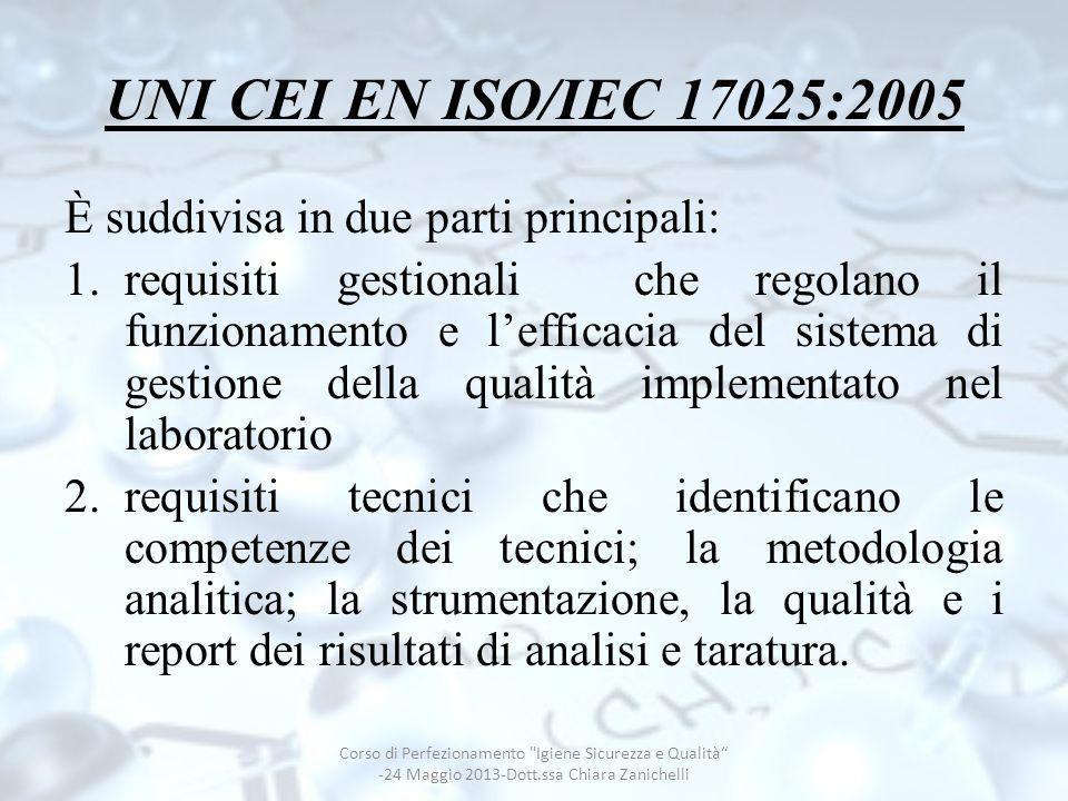 INCERTEZZA DI MISURA Corso di Perfezionamento Igiene Sicurezza e Qualità -24 Maggio 2013-Dott.ssa Chiara Zanichelli