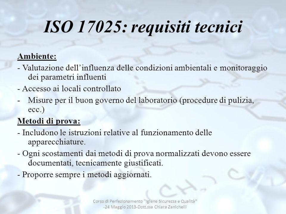 ISO 17025: requisiti tecnici Ambiente: - Valutazione dellinfluenza delle condizioni ambientali e monitoraggio dei parametri influenti - Accesso ai loc