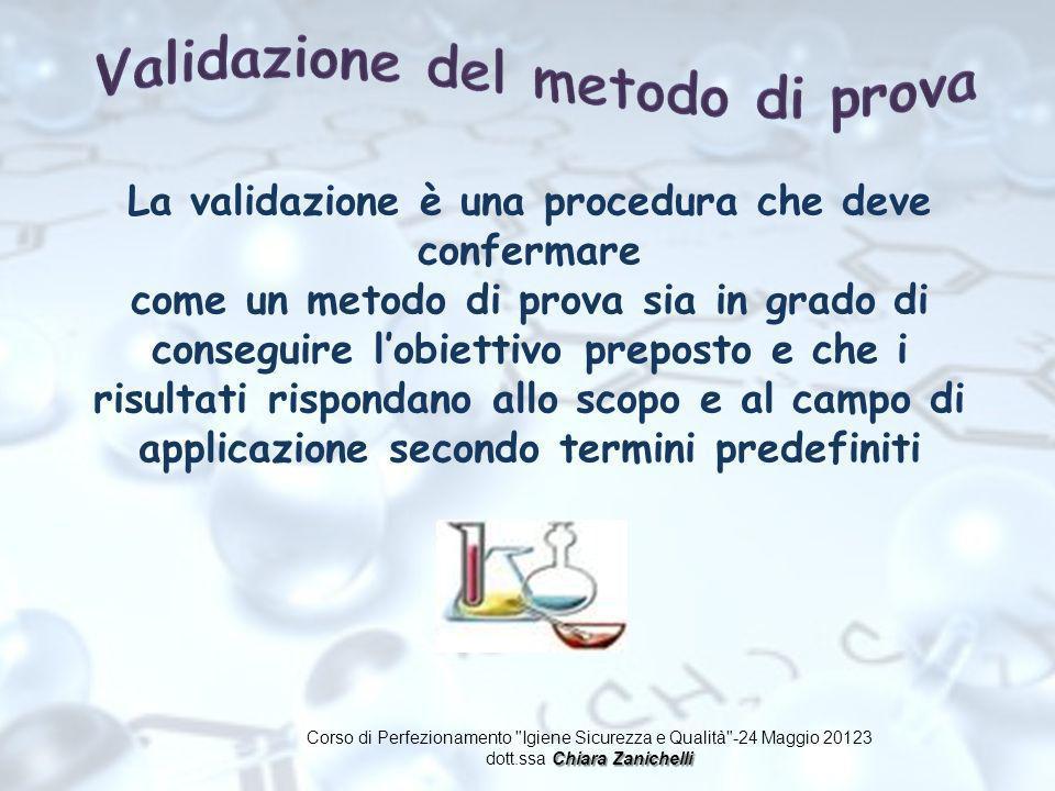 La validazione è una procedura che deve confermare come un metodo di prova sia in grado di conseguire lobiettivo preposto e che i risultati rispondano