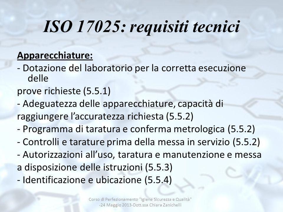 ISO 17025: requisiti tecnici Apparecchiature: - Dotazione del laboratorio per la corretta esecuzione delle prove richieste (5.5.1) - Adeguatezza delle