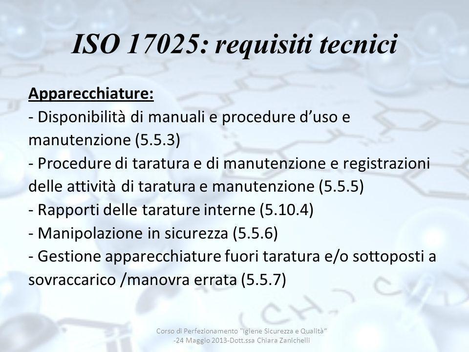 ISO 17025: requisiti tecnici Apparecchiature: - Disponibilità di manuali e procedure duso e manutenzione (5.5.3) - Procedure di taratura e di manutenz