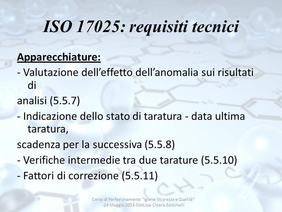 ISO 17025: requisiti tecnici Apparecchiature: - Valutazione delleffetto dellanomalia sui risultati di analisi (5.5.7) - Indicazione dello stato di tar