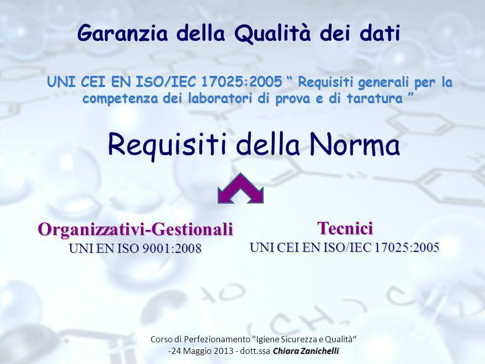 Garanzia della Qualità dei dati UNI CEI EN ISO/IEC 17025:2005 Requisiti generali per la competenza dei laboratori di prova e di taratura UNI CEI EN IS