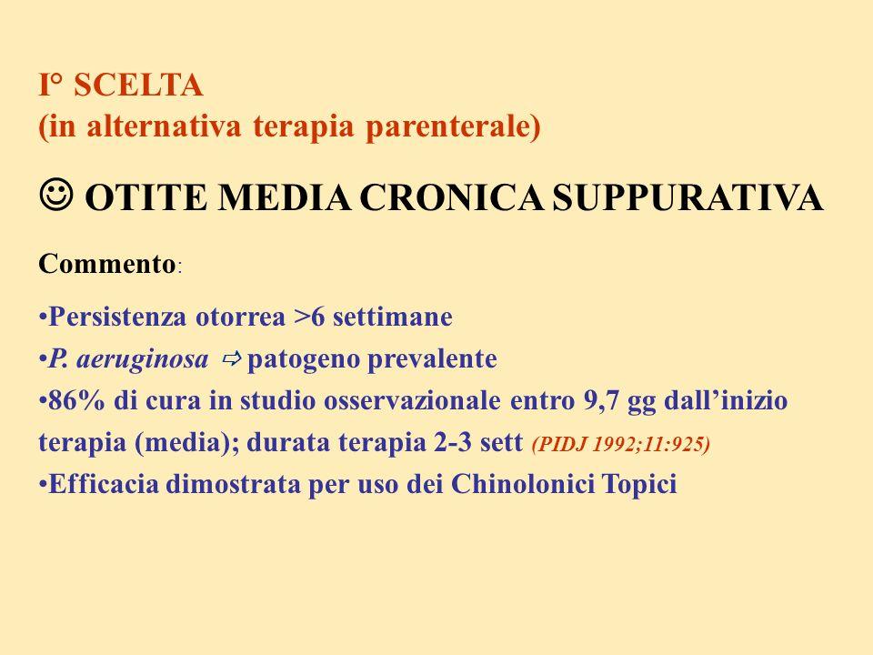 I° SCELTA (in alternativa terapia parenterale) OTITE MEDIA CRONICA SUPPURATIVA Commento : Persistenza otorrea >6 settimane P. aeruginosa patogeno prev