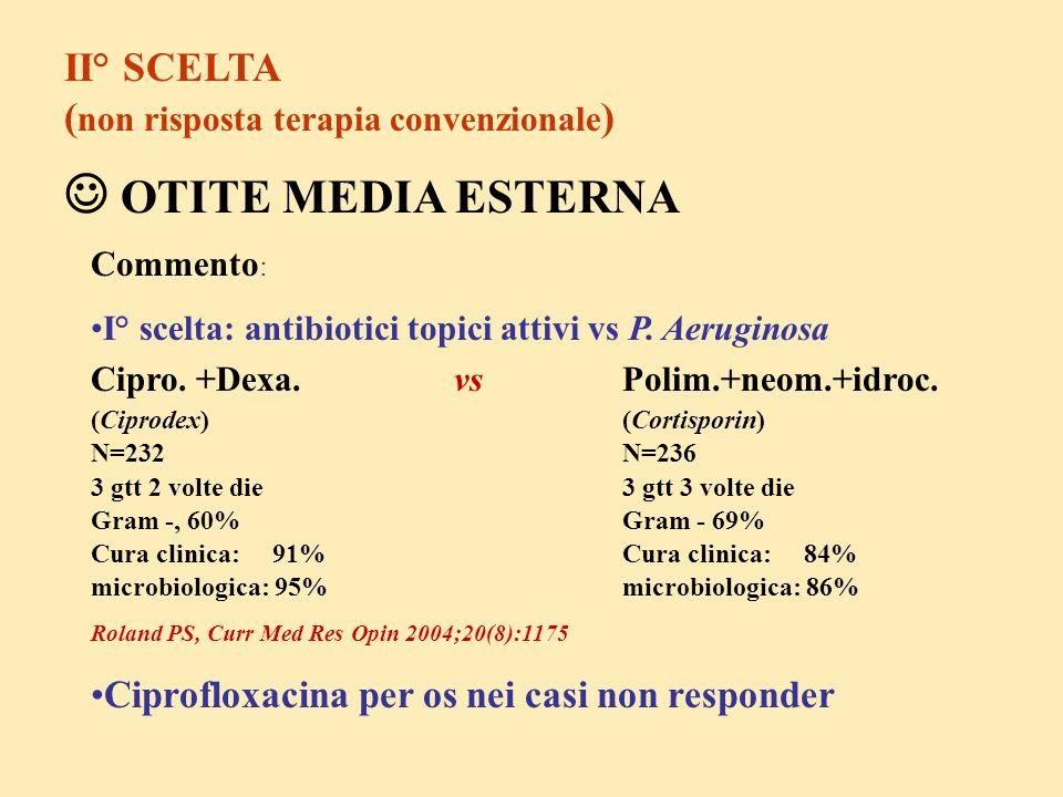 II° SCELTA ( non risposta terapia convenzionale ) OTITE MEDIA ESTERNA Commento : I° scelta: antibiotici topici attivi vs P. Aeruginosa Cipro. +Dexa. v