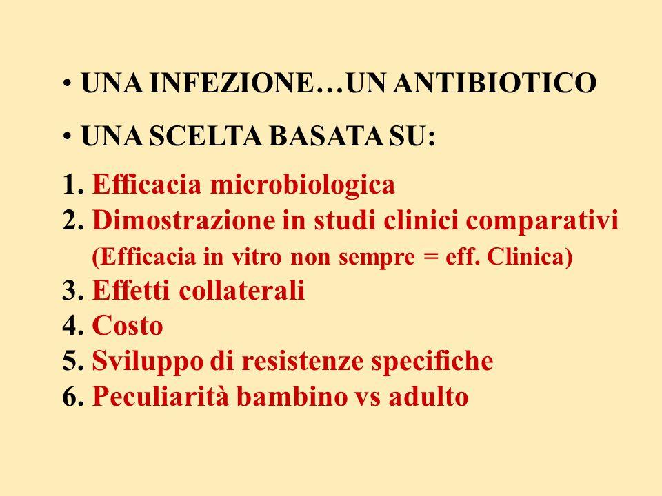 UNA INFEZIONE…UN ANTIBIOTICO UNA SCELTA BASATA SU: 1. Efficacia microbiologica 2. Dimostrazione in studi clinici comparativi (Efficacia in vitro non s