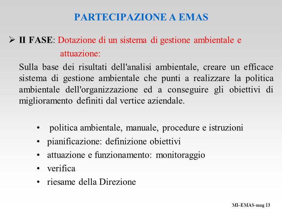 PARTECIPAZIONE A EMAS II FASE: Dotazione di un sistema di gestione ambientale e attuazione: Sulla base dei risultati dell'analisi ambientale, creare u