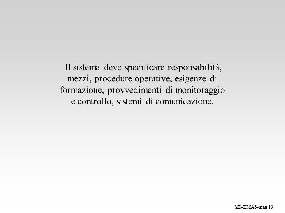 Il sistema deve specificare responsabilità, mezzi, procedure operative, esigenze di formazione, provvedimenti di monitoraggio e controllo, sistemi di