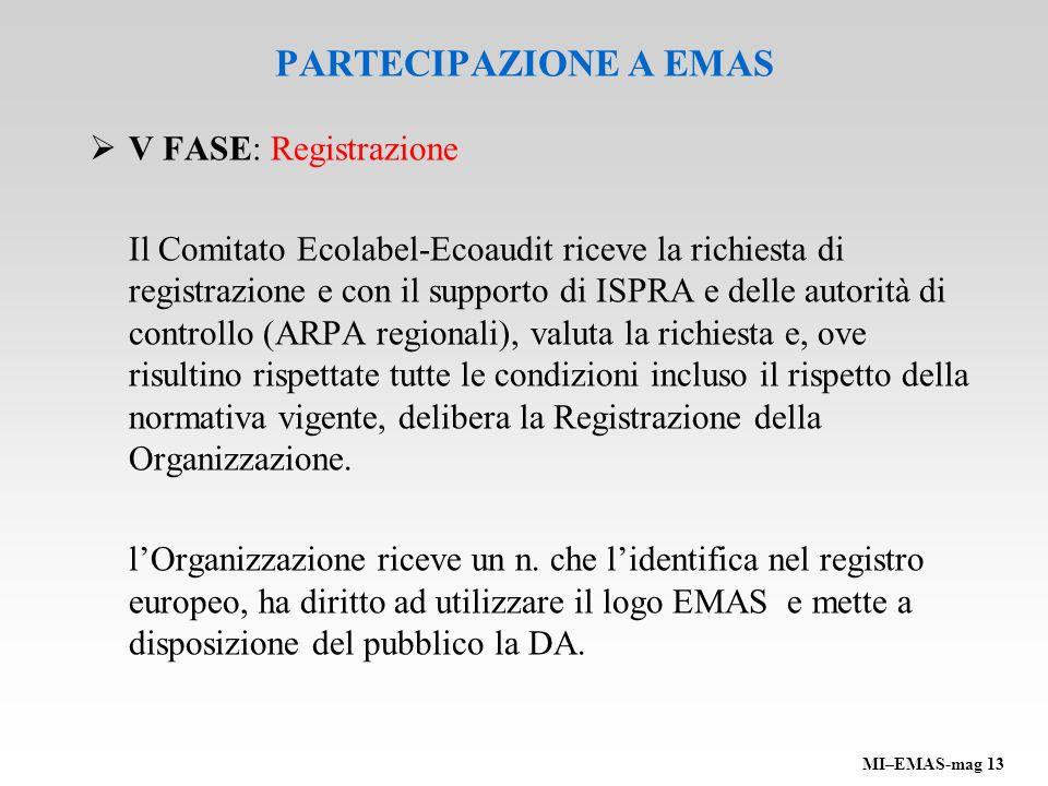 PARTECIPAZIONE A EMAS V FASE: Registrazione Il Comitato Ecolabel-Ecoaudit riceve la richiesta di registrazione e con il supporto di ISPRA e delle auto