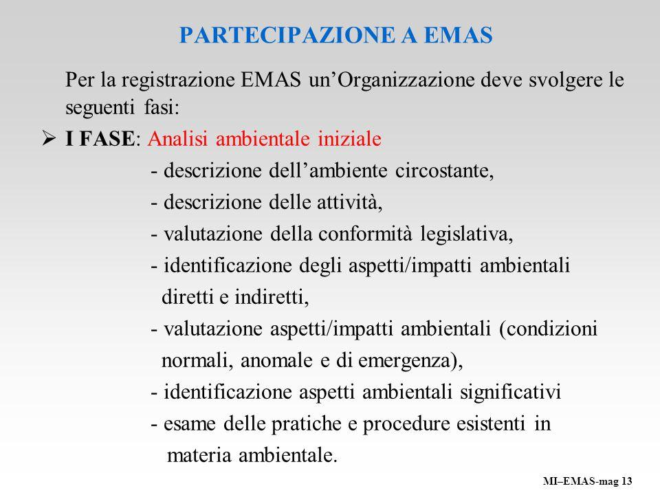 PARTECIPAZIONE A EMAS Per la registrazione EMAS unOrganizzazione deve svolgere le seguenti fasi: I FASE: Analisi ambientale iniziale - descrizione del