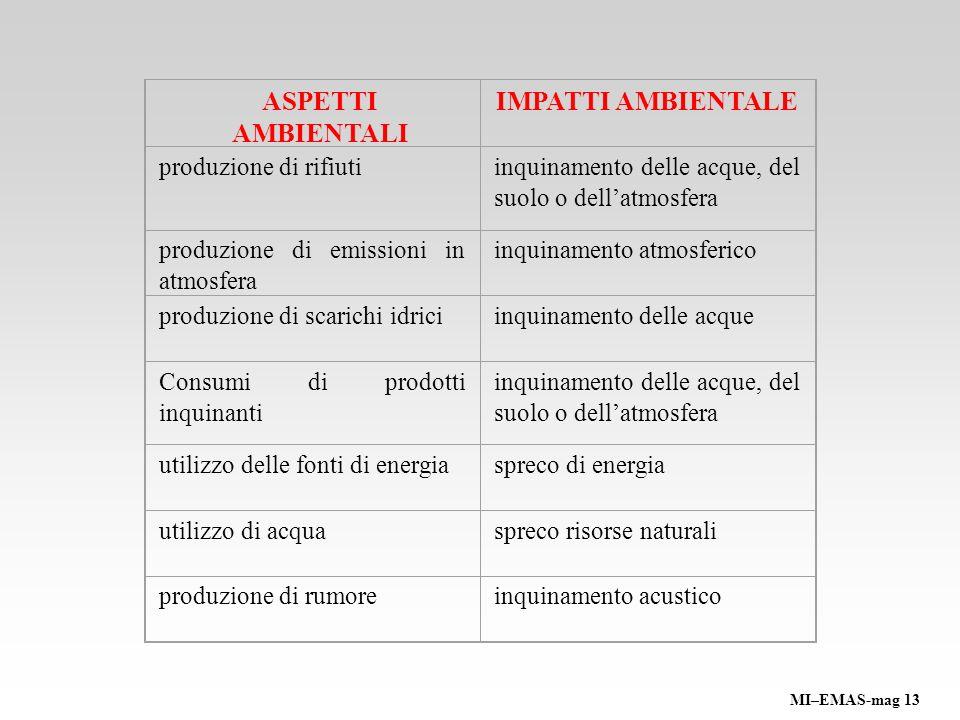 Descrizione della sensibilità del sito Descrizione delle attività Individuazione input/output di processo Identificazione aspetti ambientali Definizione impatti ambientali MI–EMAS-mag 13