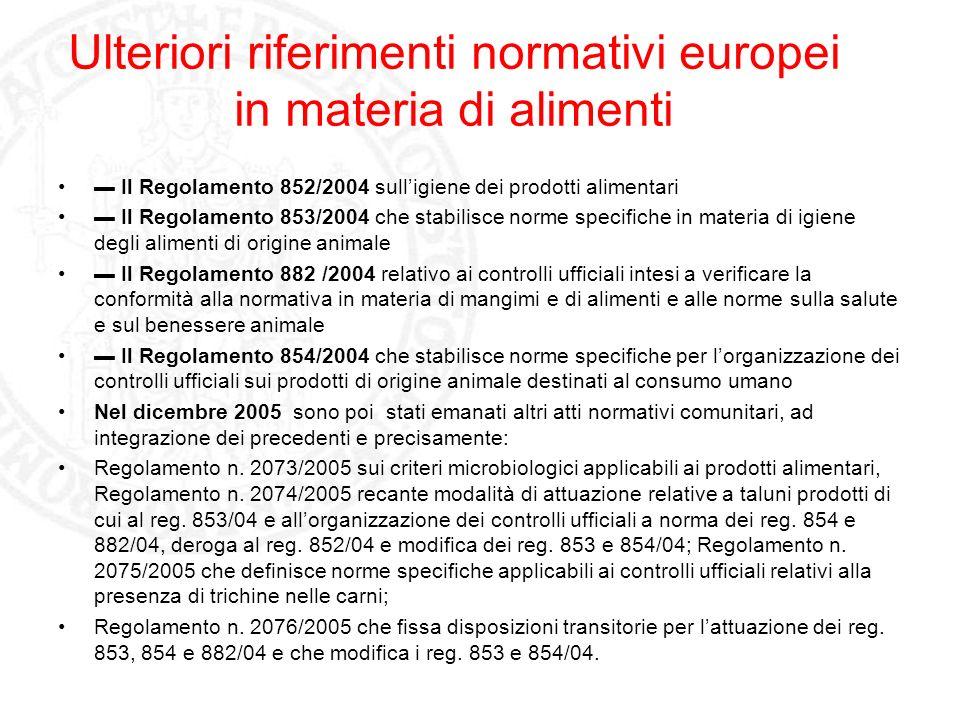 Ulteriori riferimenti normativi europei in materia di alimenti Il Regolamento 852/2004 sulligiene dei prodotti alimentari Il Regolamento 853/2004 che