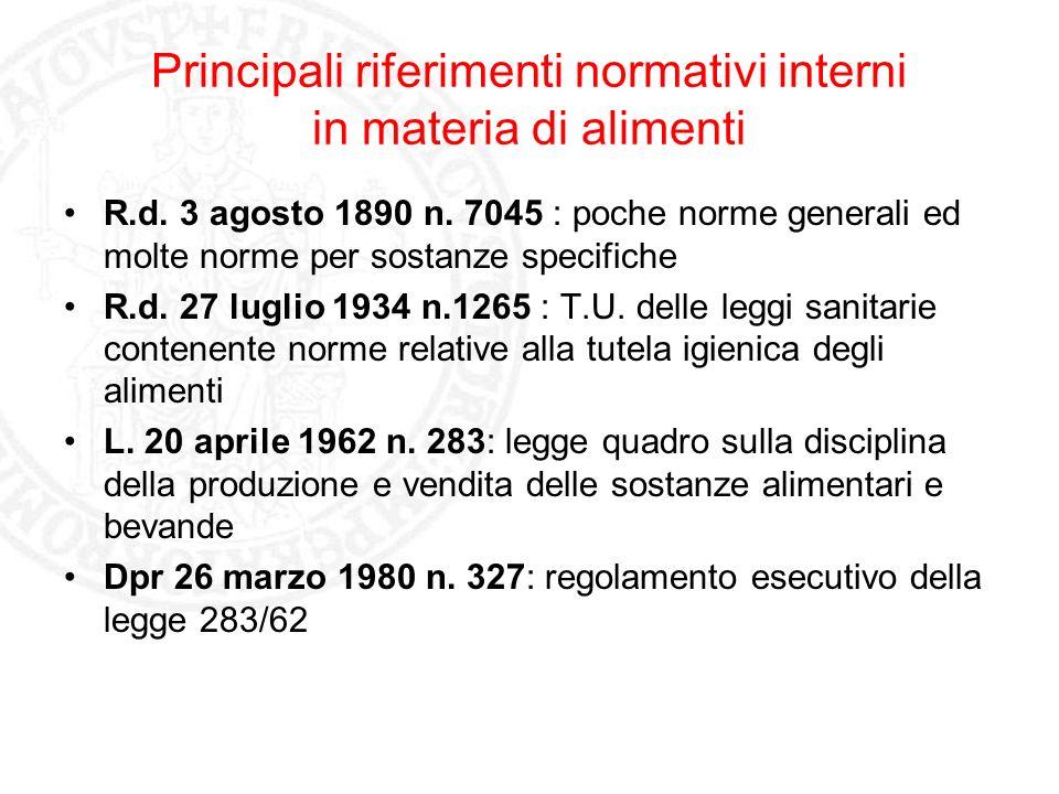 Principali riferimenti normativi interni in materia di alimenti R.d. 3 agosto 1890 n. 7045 : poche norme generali ed molte norme per sostanze specific