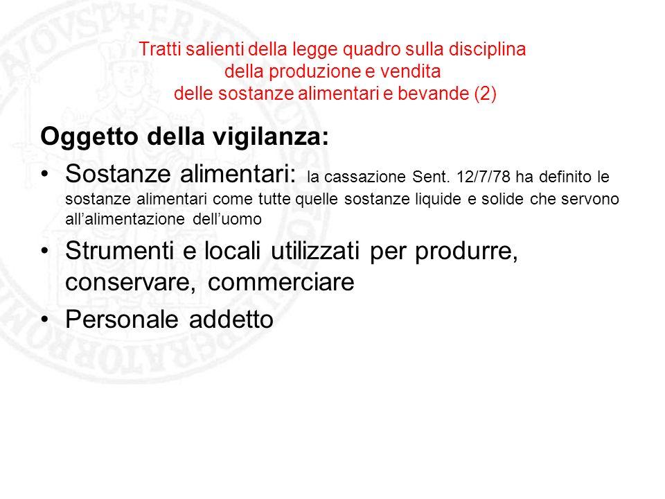 Tratti salienti della legge quadro sulla disciplina della produzione e vendita delle sostanze alimentari e bevande (2) Oggetto della vigilanza: Sostan