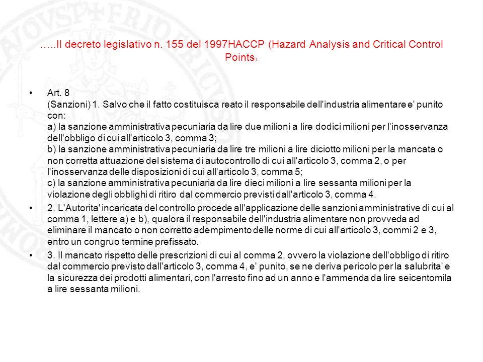 …..Il decreto legislativo n. 155 del 1997HACCP (Hazard Analysis and Critical Control Points ): Art. 8 (Sanzioni) 1. Salvo che il fatto costituisca rea