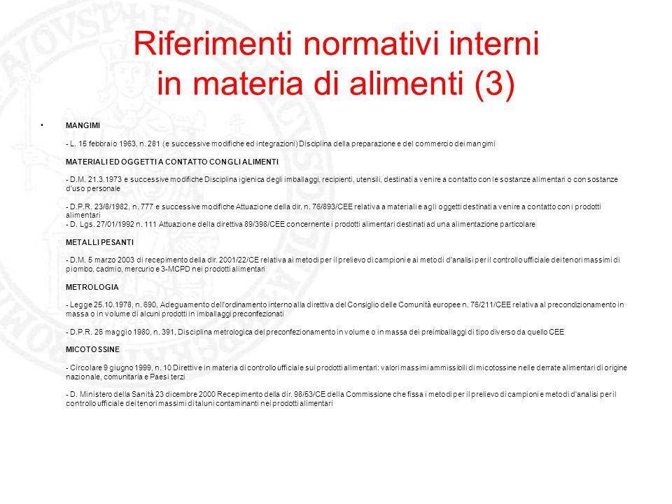 Riferimenti normativi interni in materia di alimenti (3) MANGIMI - L. 15 febbraio 1963, n. 281 (e successive modifiche ed integrazioni) Disciplina del