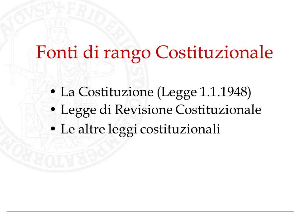 Fonti di rango Costituzionale La Costituzione (Legge 1.1.1948) Legge di Revisione Costituzionale Le altre leggi costituzionali