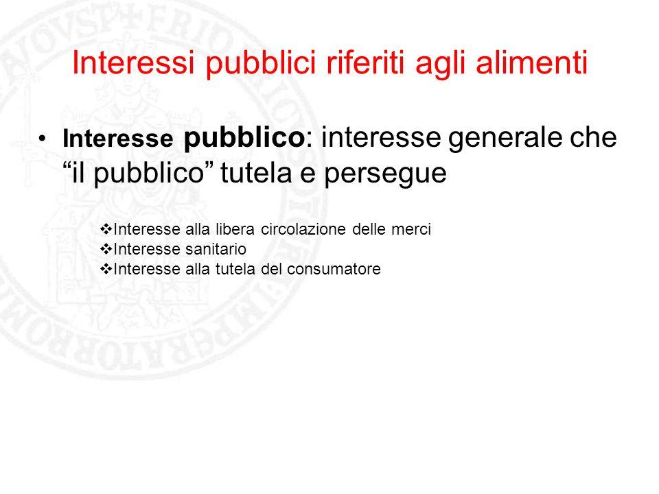 Interessi pubblici riferiti agli alimenti Interesse pubblico: interesse generale che il pubblico tutela e persegue Interesse alla libera circolazione