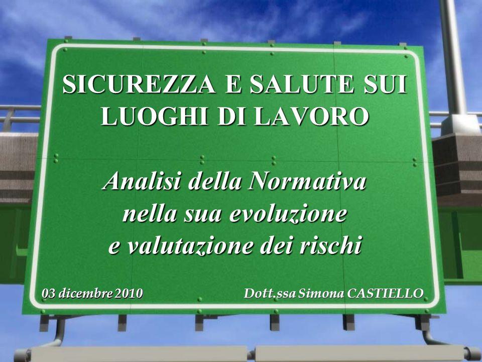 03 dicembre 2010 Dott.ssa Simona CASTIELLO SICUREZZA E SALUTE SUI LUOGHI DI LAVORO Analisi della Normativa nella sua evoluzione e valutazione dei risc