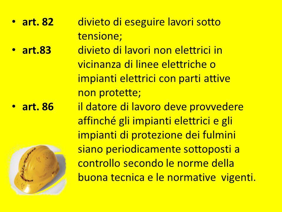 art. 82 divieto di eseguire lavori sotto tensione; art.83 divieto di lavori non elettrici in vicinanza di linee elettriche o impianti elettrici con pa