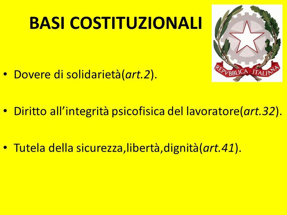 BASI COSTITUZIONALI Dovere di solidarietà(art.2). Diritto allintegrità psicofisica del lavoratore(art.32). Tutela della sicurezza,libertà,dignità(art.