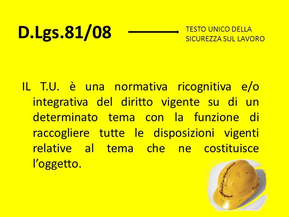 D.Lgs.81/08 IL T.U. è una normativa ricognitiva e/o integrativa del diritto vigente su di un determinato tema con la funzione di raccogliere tutte le