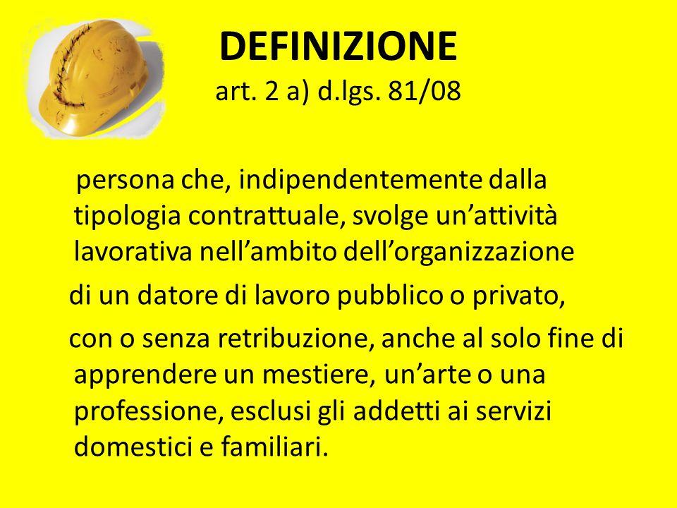 DEFINIZIONE art. 2 a) d.lgs. 81/08 persona che, indipendentemente dalla tipologia contrattuale, svolge unattività lavorativa nellambito dellorganizzaz