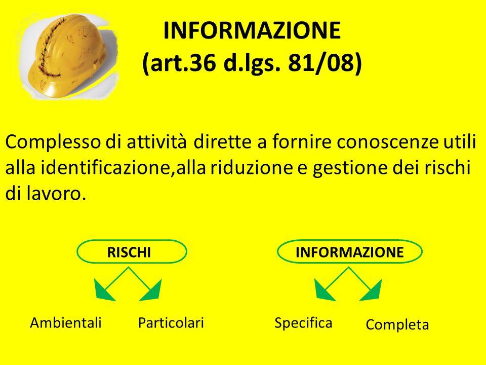 INFORMAZIONE (art.36 d.lgs. 81/08) Complesso di attività dirette a fornire conoscenze utili alla identificazione,alla riduzione e gestione dei rischi