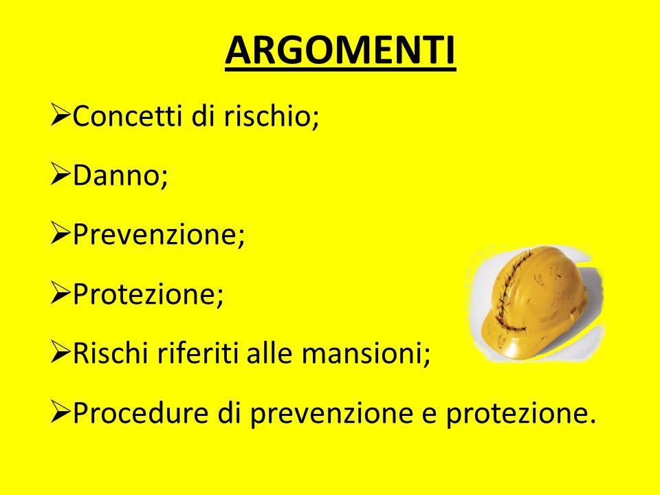 ARGOMENTI Concetti di rischio; Danno; Prevenzione; Protezione; Rischi riferiti alle mansioni; Procedure di prevenzione e protezione.