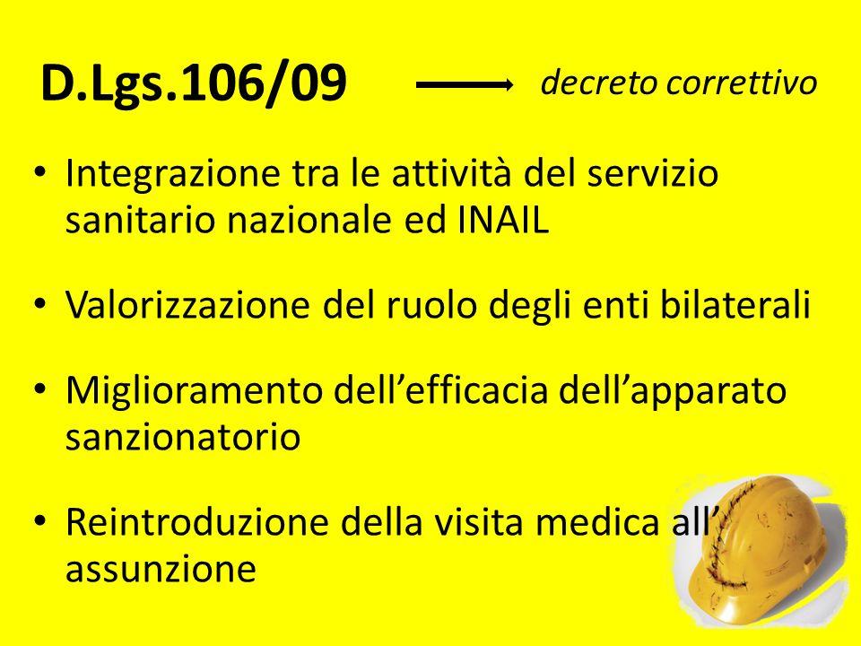 D.Lgs.106/09 Integrazione tra le attività del servizio sanitario nazionale ed INAIL Valorizzazione del ruolo degli enti bilaterali Miglioramento delle