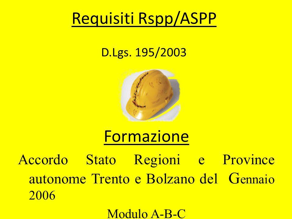 Requisiti Rspp/ASPP D.Lgs. 195/2003 Formazione Accordo Stato Regioni e Province autonome Trento e Bolzano del G ennaio 2006 Modulo A-B-C