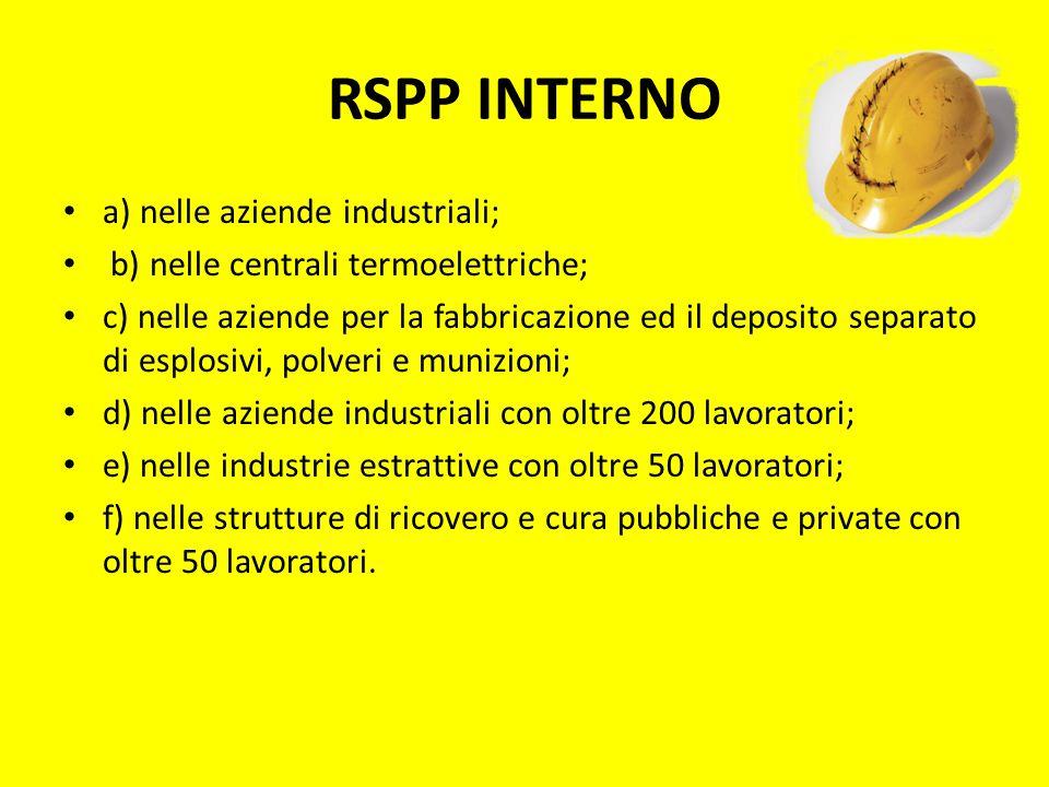 RSPP INTERNO a) nelle aziende industriali; b) nelle centrali termoelettriche; c) nelle aziende per la fabbricazione ed il deposito separato di esplosi