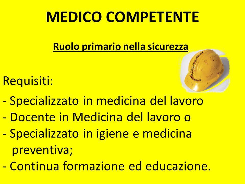 Ruolo primario nella sicurezza Requisiti: - Specializzato in medicina del lavoro - Docente in Medicina del lavoro o - Specializzato in igiene e medici
