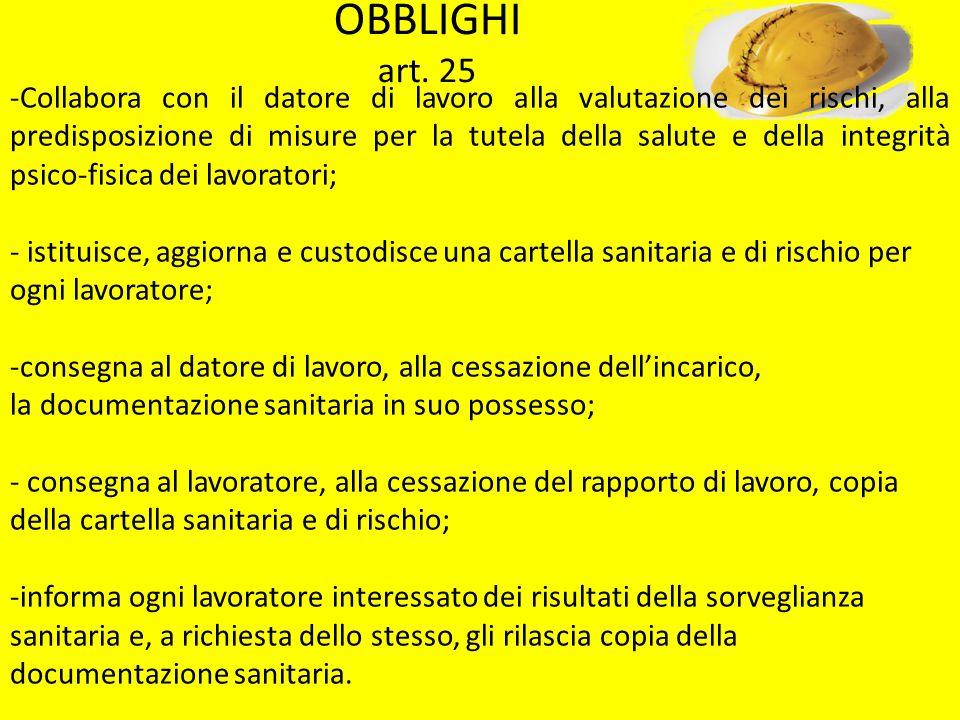 OBBLIGHI art. 25 -Collabora con il datore di lavoro alla valutazione dei rischi, alla predisposizione di misure per la tutela della salute e della int