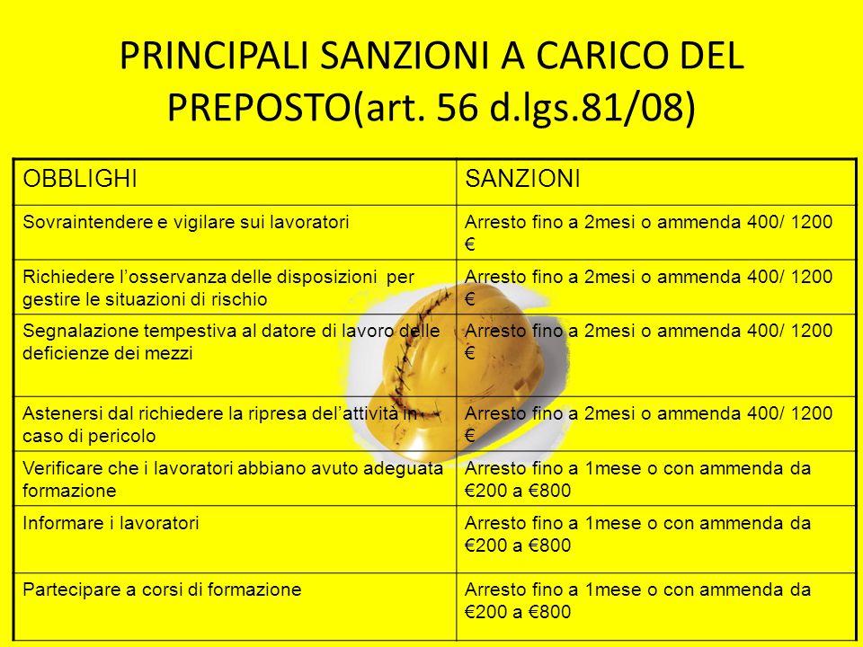PRINCIPALI SANZIONI A CARICO DEL PREPOSTO(art. 56 d.lgs.81/08) OBBLIGHISANZIONI Sovraintendere e vigilare sui lavoratoriArresto fino a 2mesi o ammenda