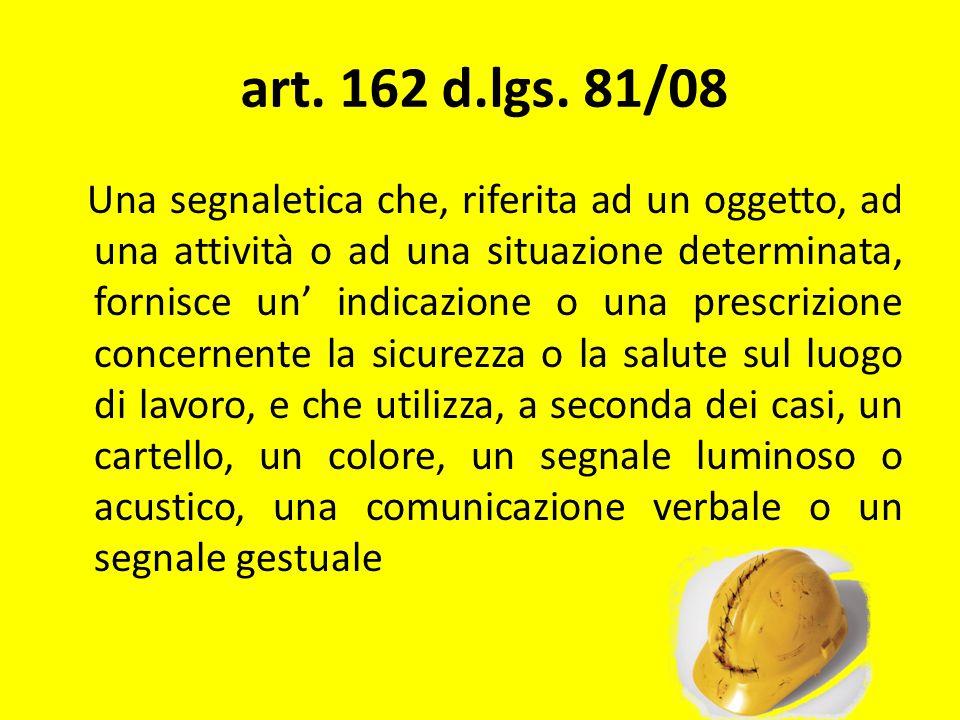 art. 162 d.lgs. 81/08 Una segnaletica che, riferita ad un oggetto, ad una attività o ad una situazione determinata, fornisce un indicazione o una pres