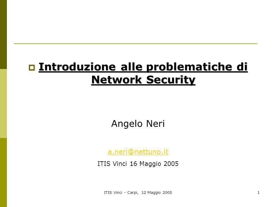 ITIS Vinci - Carpi, 12 Maggio 20051 Introduzione alle problematiche di Network Security Introduzione alle problematiche di Network Security Angelo Ner