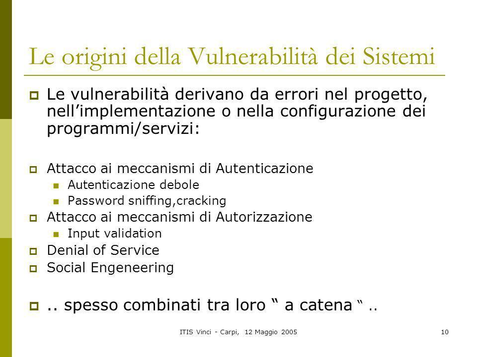 ITIS Vinci - Carpi, 12 Maggio 200510 Le origini della Vulnerabilità dei Sistemi Le vulnerabilità derivano da errori nel progetto, nellimplementazione