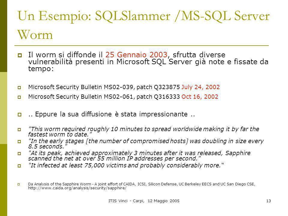 ITIS Vinci - Carpi, 12 Maggio 200513 Un Esempio: SQLSlammer /MS-SQL Server Worm Il worm si diffonde il 25 Gennaio 2003, sfrutta diverse vulnerabilità