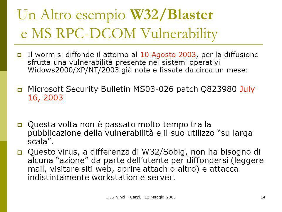ITIS Vinci - Carpi, 12 Maggio 200514 Un Altro esempio W32/Blaster e MS RPC-DCOM Vulnerability Il worm si diffonde il attorno al 10 Agosto 2003, per la