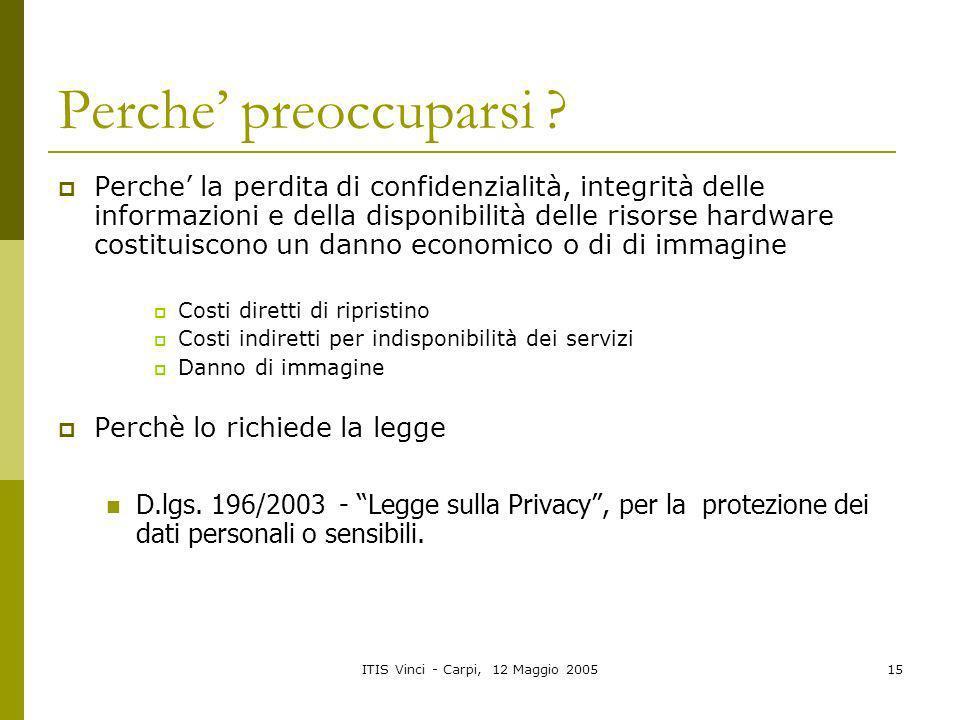ITIS Vinci - Carpi, 12 Maggio 200515 Perche preoccuparsi ? Perche la perdita di confidenzialità, integrità delle informazioni e della disponibilità de