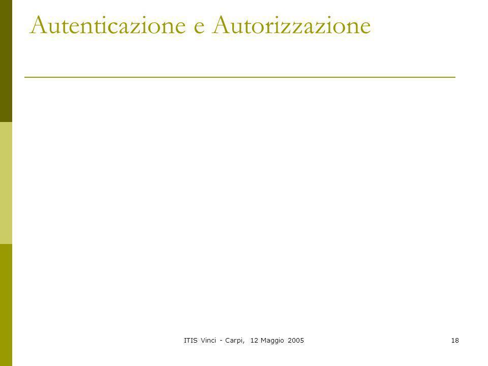 ITIS Vinci - Carpi, 12 Maggio 200518 Autenticazione e Autorizzazione