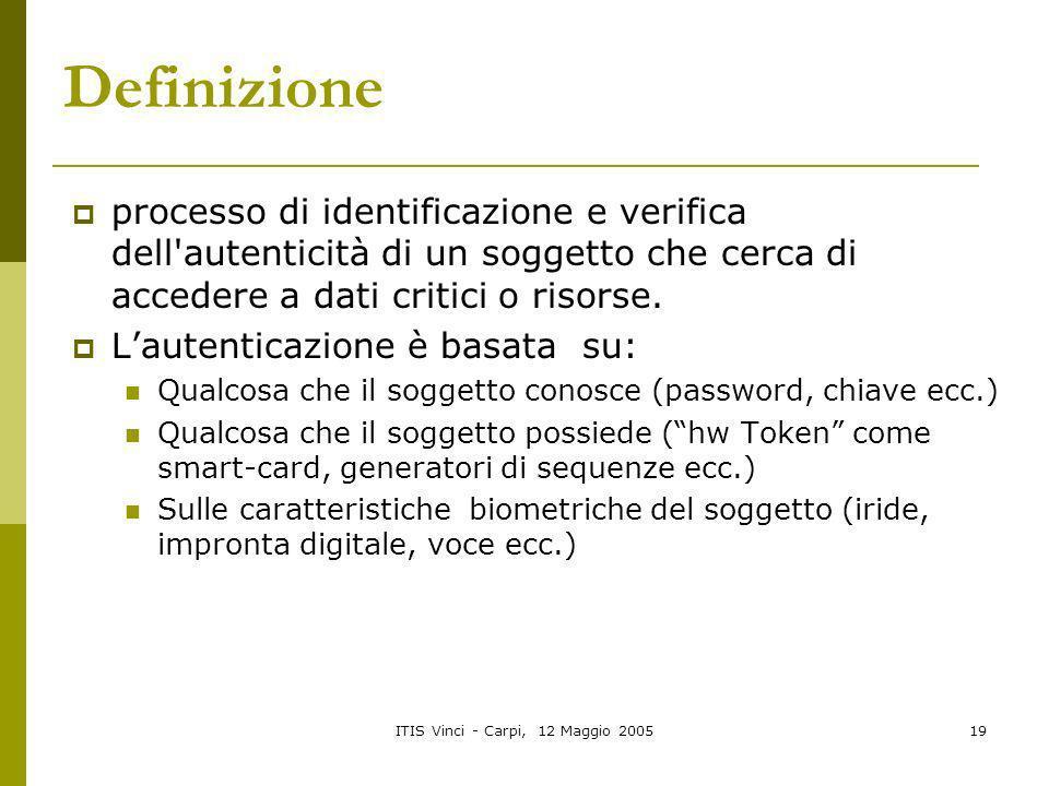 ITIS Vinci - Carpi, 12 Maggio 200519 Definizione processo di identificazione e verifica dell'autenticità di un soggetto che cerca di accedere a dati c