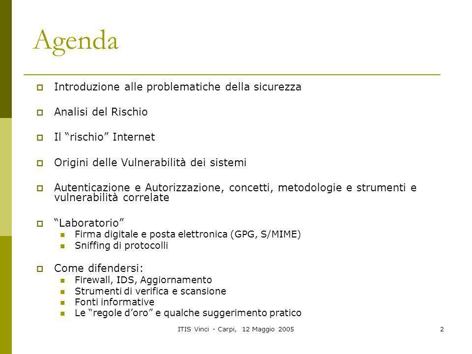 ITIS Vinci - Carpi, 12 Maggio 20052 Agenda Introduzione alle problematiche della sicurezza Analisi del Rischio Il rischio Internet Origini delle Vulne