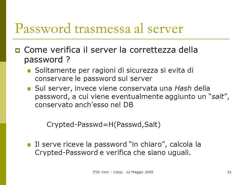 ITIS Vinci - Carpi, 12 Maggio 200522 Password trasmessa al server Come verifica il server la correttezza della password ? Solitamente per ragioni di s
