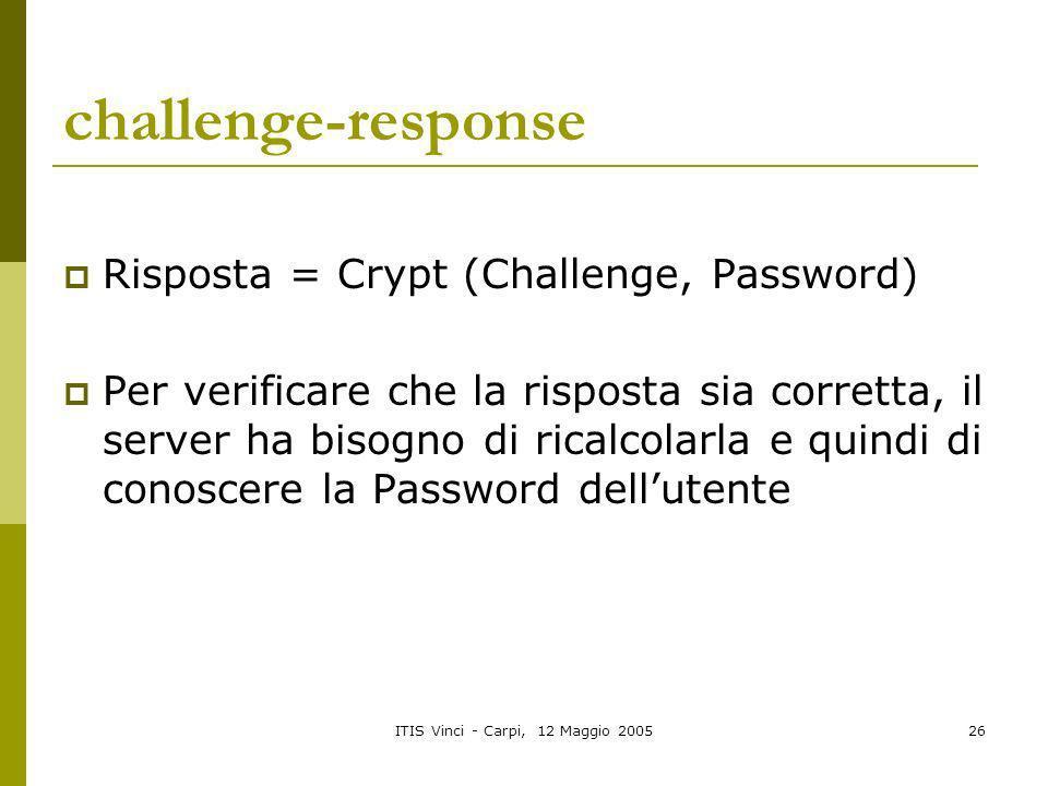ITIS Vinci - Carpi, 12 Maggio 200526 challenge-response Risposta = Crypt (Challenge, Password) Per verificare che la risposta sia corretta, il server