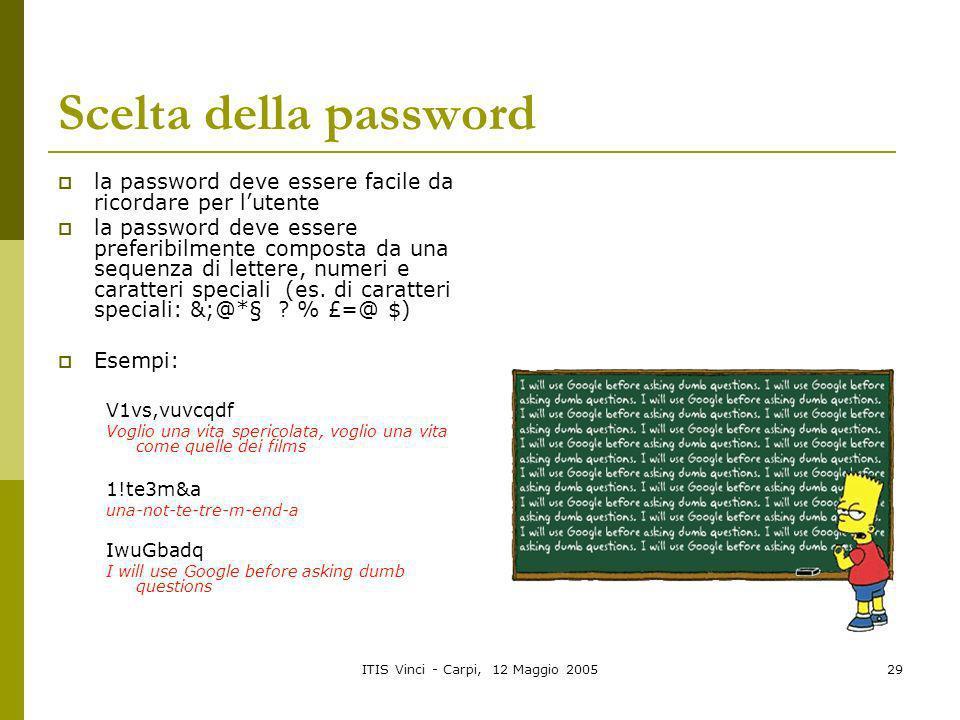 ITIS Vinci - Carpi, 12 Maggio 200529 Scelta della password la password deve essere facile da ricordare per lutente la password deve essere preferibilm